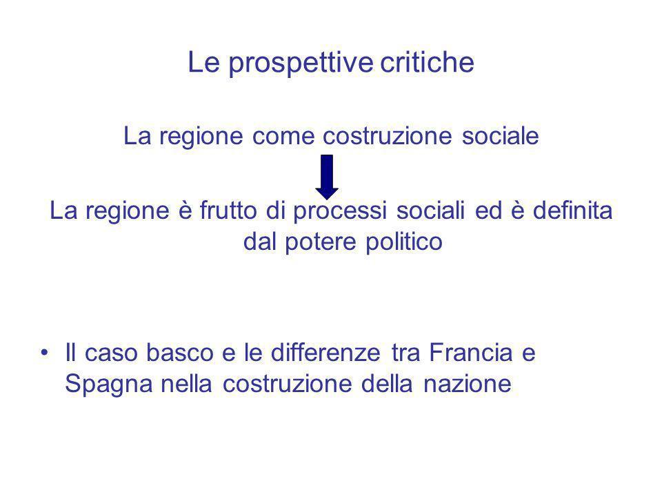 Le prospettive critiche La regione come costruzione sociale La regione è frutto di processi sociali ed è definita dal potere politico Il caso basco e