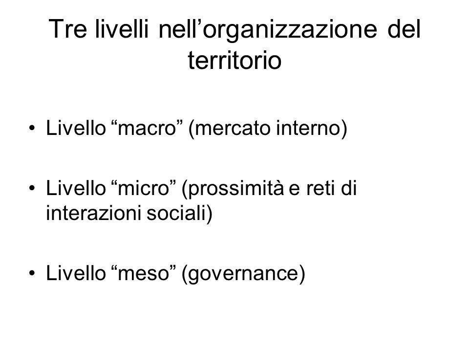 Tre livelli nellorganizzazione del territorio Livello macro (mercato interno) Livello micro (prossimità e reti di interazioni sociali) Livello meso (g