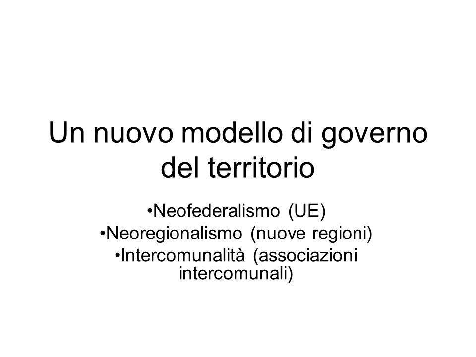 Un nuovo modello di governo del territorio Neofederalismo (UE) Neoregionalismo (nuove regioni) Intercomunalità (associazioni intercomunali)