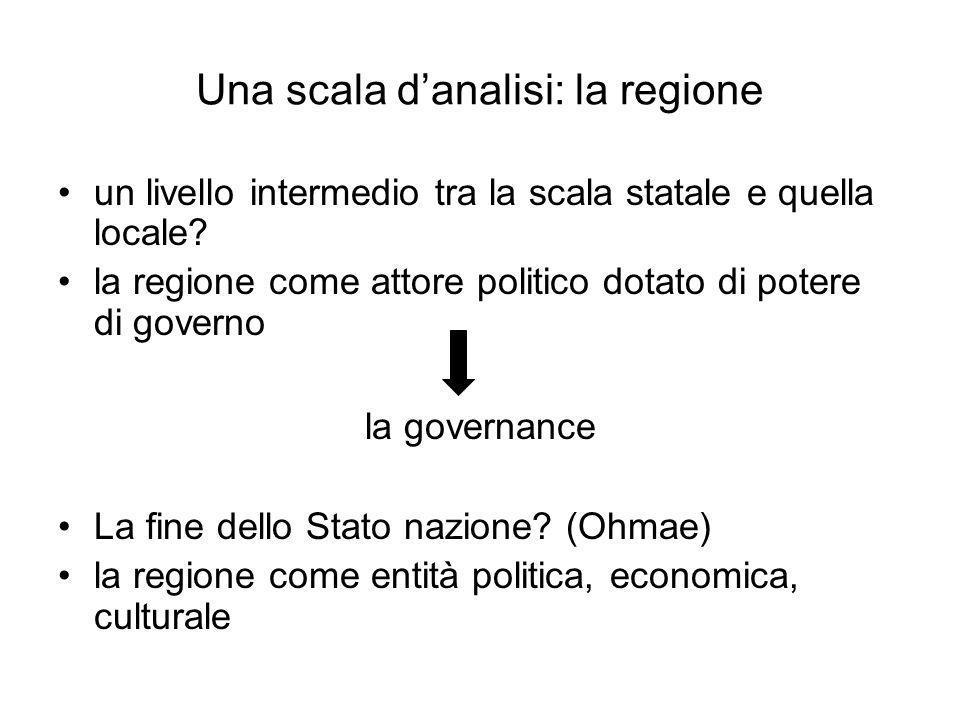 Una scala danalisi: la regione un livello intermedio tra la scala statale e quella locale? la regione come attore politico dotato di potere di governo