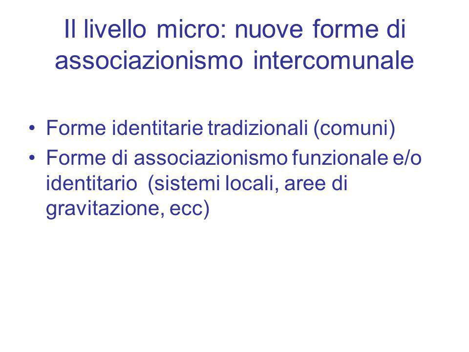 Il livello micro: nuove forme di associazionismo intercomunale Forme identitarie tradizionali (comuni) Forme di associazionismo funzionale e/o identit
