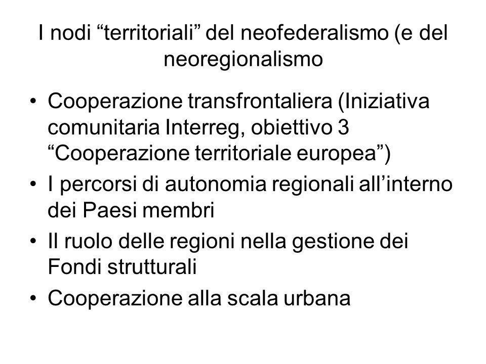I nodi territoriali del neofederalismo (e del neoregionalismo Cooperazione transfrontaliera (Iniziativa comunitaria Interreg, obiettivo 3 Cooperazione