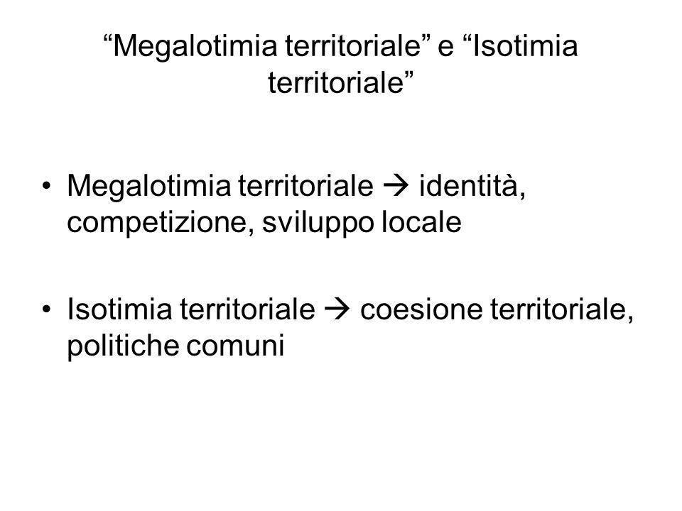 Megalotimia territoriale e Isotimia territoriale Megalotimia territoriale identità, competizione, sviluppo locale Isotimia territoriale coesione terri