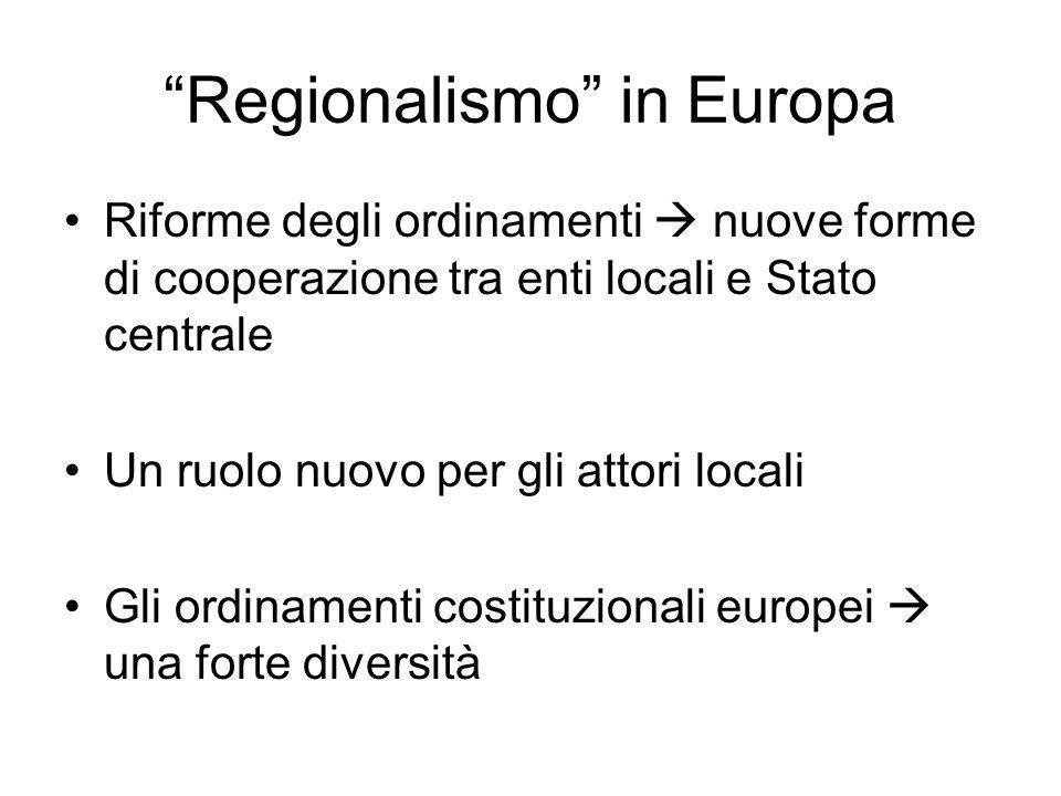 Regionalismo in Europa Riforme degli ordinamenti nuove forme di cooperazione tra enti locali e Stato centrale Un ruolo nuovo per gli attori locali Gli