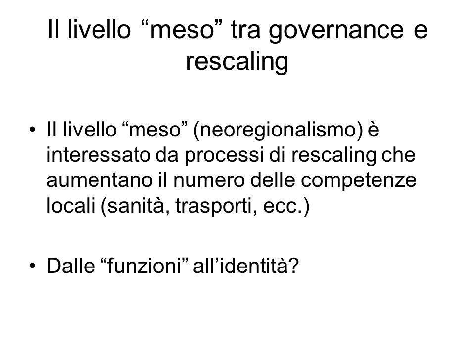 Il livello meso tra governance e rescaling Il livello meso (neoregionalismo) è interessato da processi di rescaling che aumentano il numero delle comp