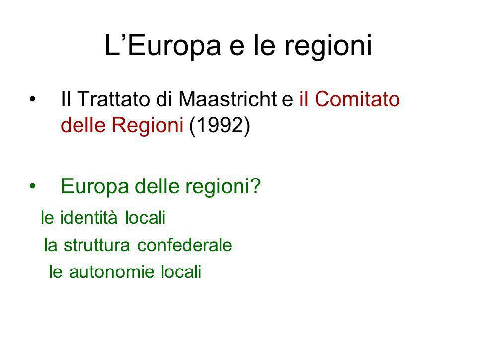 LEuropa e le regioni Il Trattato di Maastricht e il Comitato delle Regioni (1992) Europa delle regioni? le identità locali la struttura confederale le