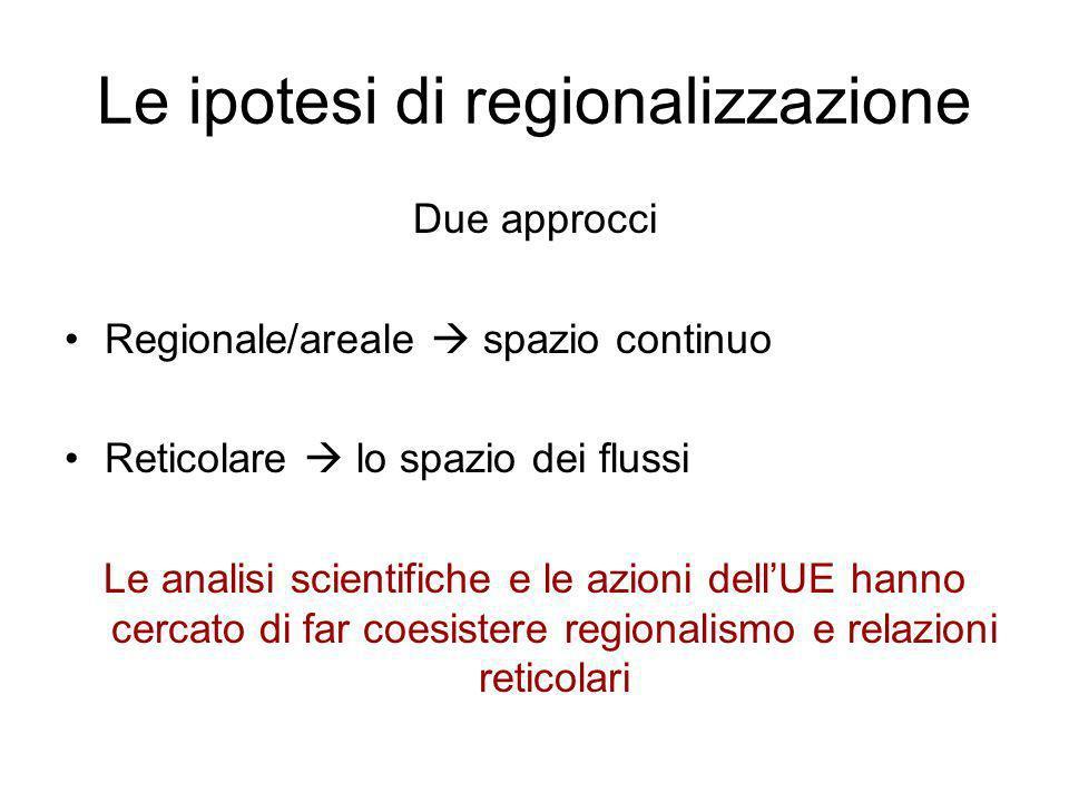 Le ipotesi di regionalizzazione Due approcci Regionale/areale spazio continuo Reticolare lo spazio dei flussi Le analisi scientifiche e le azioni dell