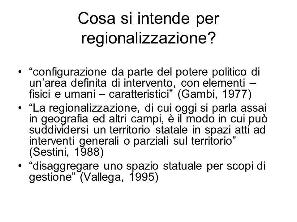 Cosa si intende per regionalizzazione? configurazione da parte del potere politico di unarea definita di intervento, con elementi – fisici e umani – c