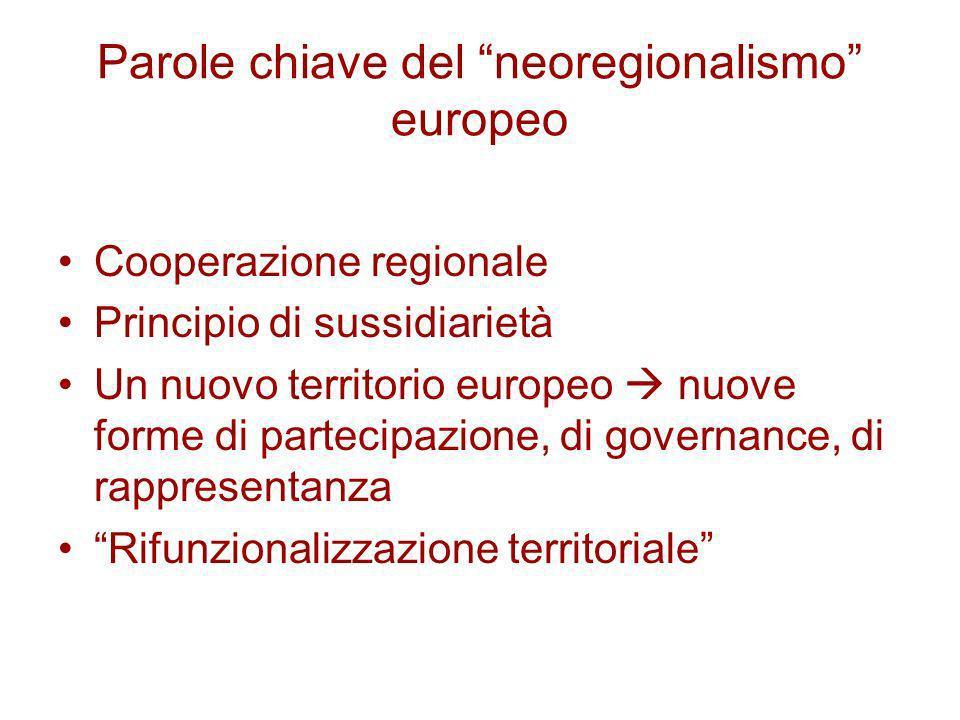 Parole chiave del neoregionalismo europeo Cooperazione regionale Principio di sussidiarietà Un nuovo territorio europeo nuove forme di partecipazione,