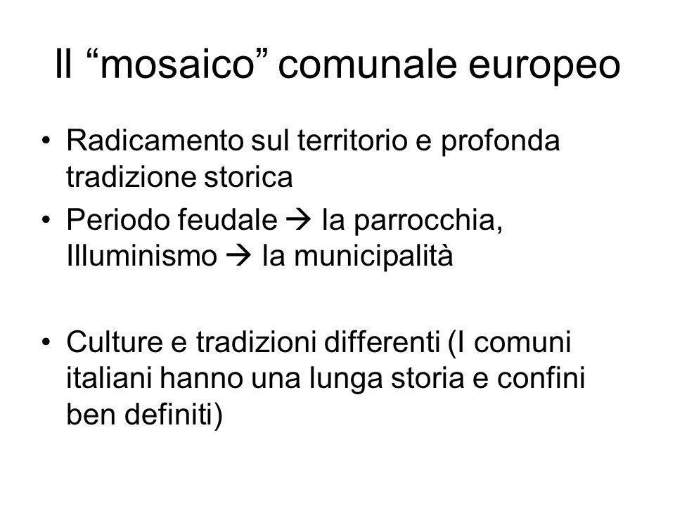 Il mosaico comunale europeo Radicamento sul territorio e profonda tradizione storica Periodo feudale la parrocchia, Illuminismo la municipalità Cultur