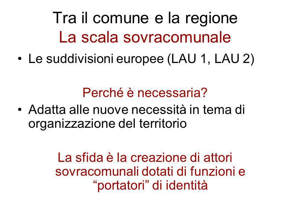 Tra il comune e la regione La scala sovracomunale Le suddivisioni europee (LAU 1, LAU 2) Perché è necessaria? Adatta alle nuove necessità in tema di o