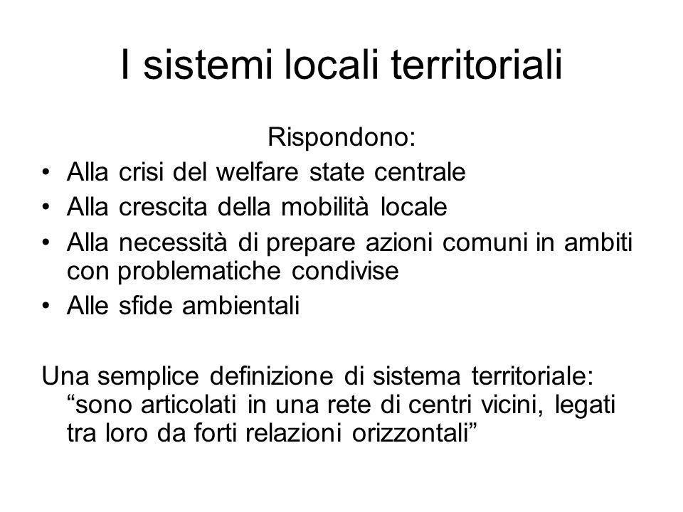 I sistemi locali territoriali Rispondono: Alla crisi del welfare state centrale Alla crescita della mobilità locale Alla necessità di prepare azioni c