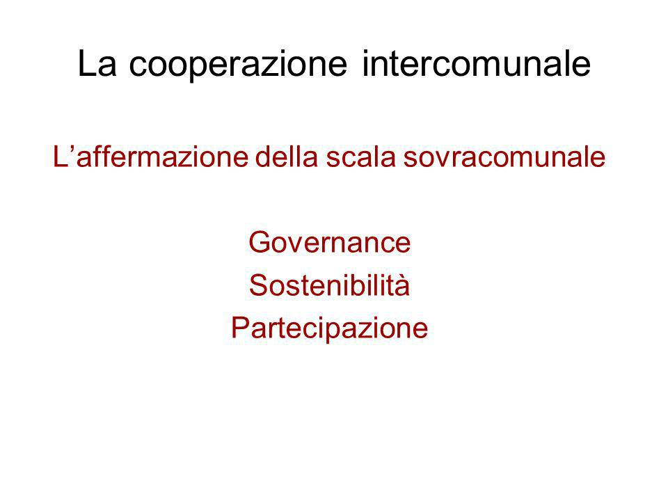La cooperazione intercomunale Laffermazione della scala sovracomunale Governance Sostenibilità Partecipazione