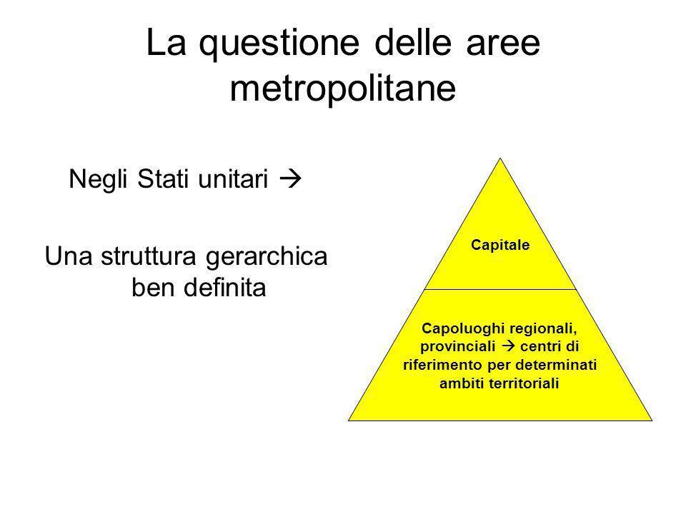 La questione delle aree metropolitane Negli Stati unitari Una struttura gerarchica ben definita Capitale Capoluoghi regionali, provinciali centri di r