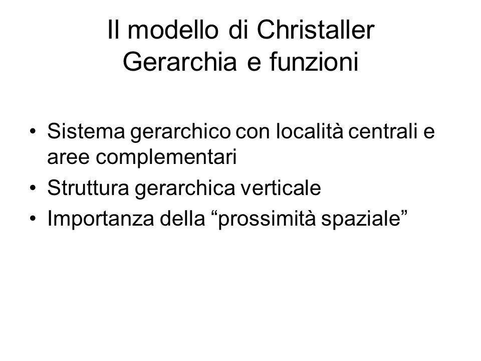 Il modello di Christaller Gerarchia e funzioni Sistema gerarchico con località centrali e aree complementari Struttura gerarchica verticale Importanza