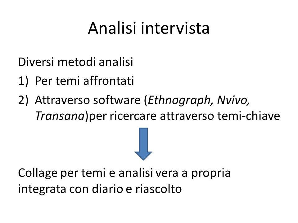 Analisi intervista Diversi metodi analisi 1)Per temi affrontati 2)Attraverso software (Ethnograph, Nvivo, Transana)per ricercare attraverso temi-chiav