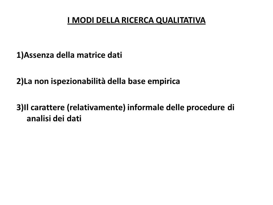 I MODI DELLA RICERCA QUALITATIVA 1)Assenza della matrice dati 2)La non ispezionabilità della base empirica 3)Il carattere (relativamente) informale de