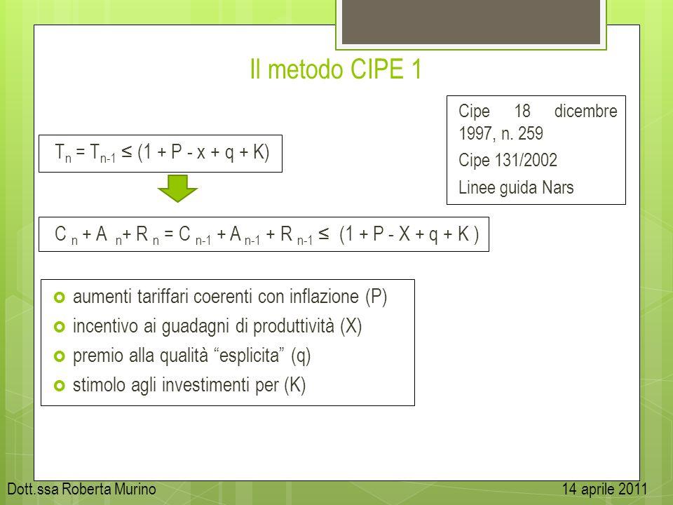 Il metodo CIPE 1 T n = T n-1 (1 + P - x + q + K) Cipe 18 dicembre 1997, n. 259 Cipe 131/2002 Linee guida Nars aumenti tariffari coerenti con inflazion