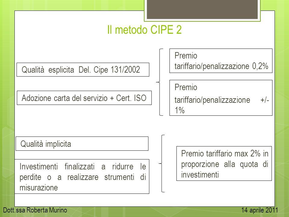 Il metodo CIPE 2 Qualità esplicita Del. Cipe 131/2002 Qualità implicita Adozione carta del servizio + Cert. ISO Premio tariffario/penalizzazione 0,2%