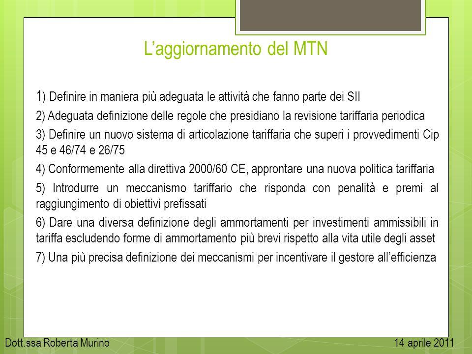 Laggiornamento del MTN 1 ) Definire in maniera più adeguata le attività che fanno parte dei SII 2) Adeguata definizione delle regole che presidiano la