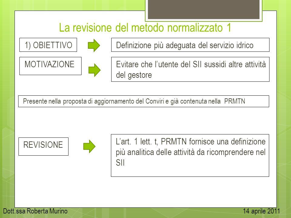 La revisione del metodo normalizzato 1 1) OBIETTIVO MOTIVAZIONE Presente nella proposta di aggiornamento del Conviri e già contenuta nella PRMTN Defin