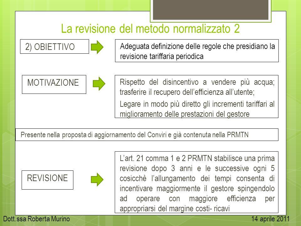 La revisione del metodo normalizzato 2 2) OBIETTIVO MOTIVAZIONE Presente nella proposta di aggiornamento del Conviri e già contenuta nella PRMTN Adegu