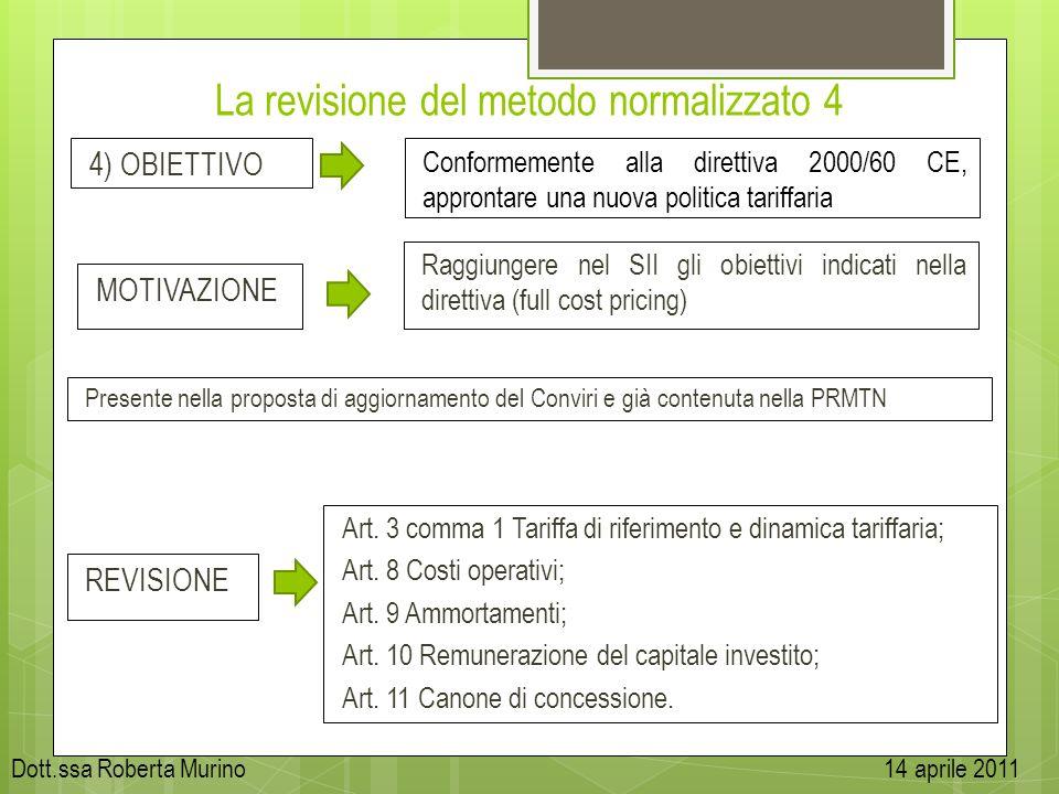 La revisione del metodo normalizzato 4 4) OBIETTIVO MOTIVAZIONE Presente nella proposta di aggiornamento del Conviri e già contenuta nella PRMTN Confo