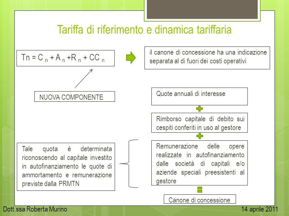 Tariffa di riferimento e dinamica tariffaria Tn = C n + A n +R n + CC n il canone di concessione ha una indicazione separata al di fuori dei costi ope