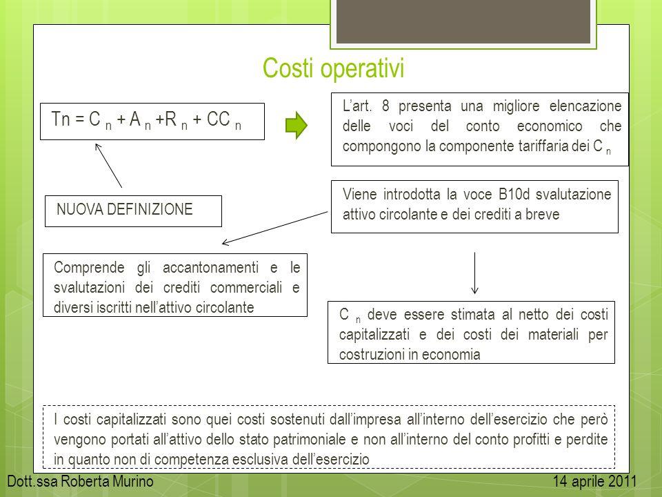 Costi operativi Tn = C n + A n +R n + CC n Lart. 8 presenta una migliore elencazione delle voci del conto economico che compongono la componente tarif