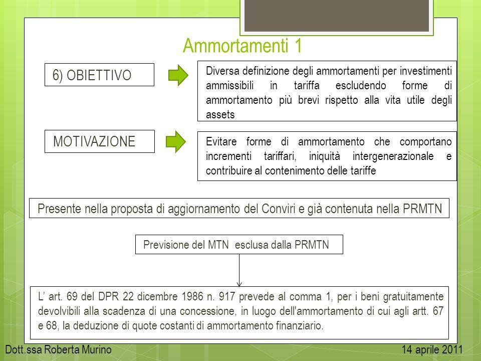 Ammortamenti 1 Diversa definizione degli ammortamenti per investimenti ammissibili in tariffa escludendo forme di ammortamento più brevi rispetto alla