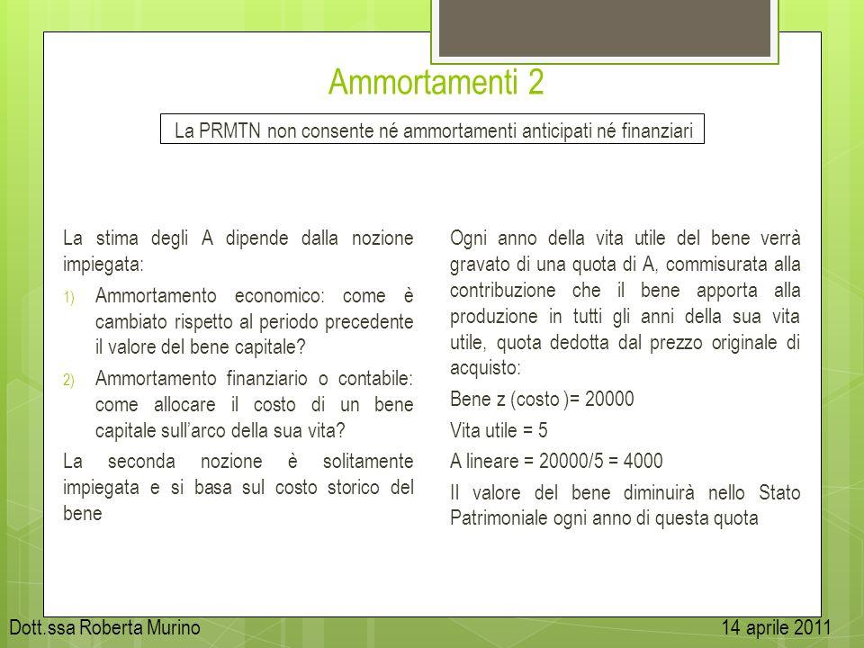 Ammortamenti 2 La PRMTN non consente né ammortamenti anticipati né finanziari La stima degli A dipende dalla nozione impiegata: 1) Ammortamento econom