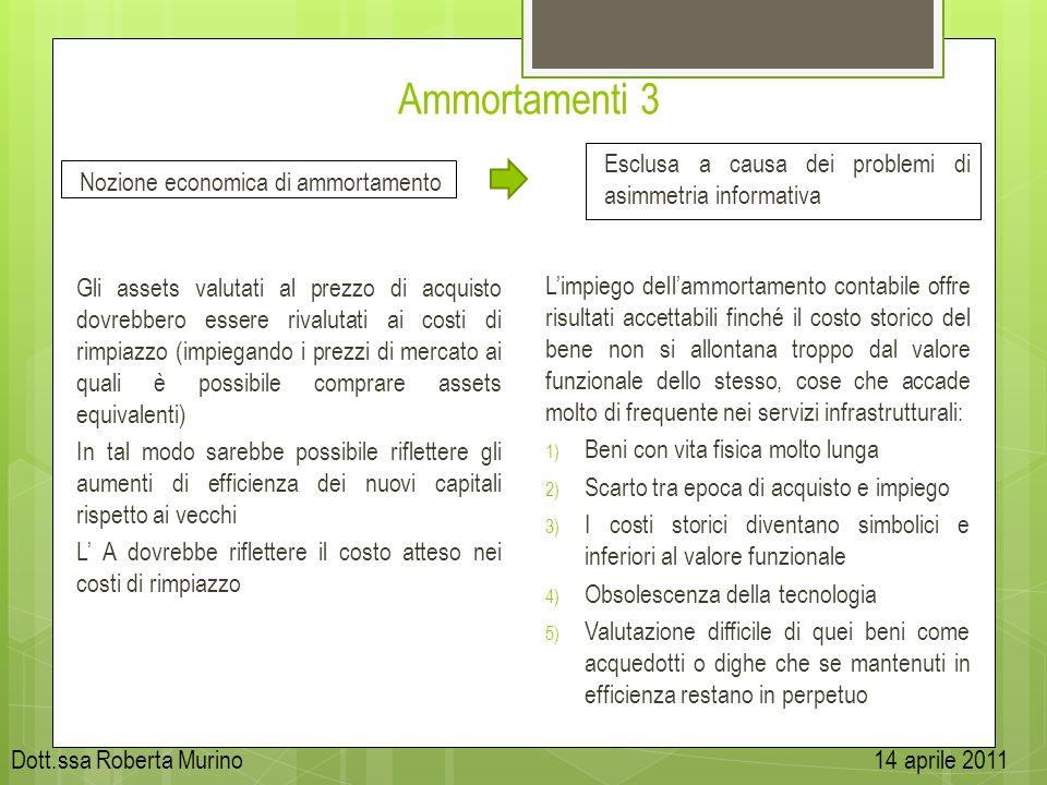 Ammortamenti 3 Nozione economica di ammortamento Gli assets valutati al prezzo di acquisto dovrebbero essere rivalutati ai costi di rimpiazzo (impiega