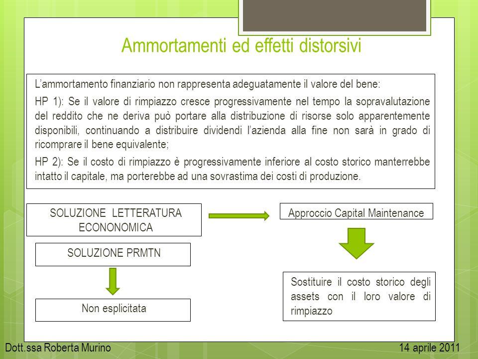 Ammortamenti ed effetti distorsivi Lammortamento finanziario non rappresenta adeguatamente il valore del bene: HP 1): Se il valore di rimpiazzo cresce