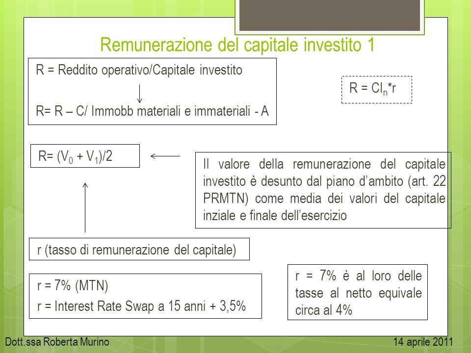 Remunerazione del capitale investito 1 R = Reddito operativo/Capitale investito R= R – C/ Immobb materiali e immateriali - A R = CI n *r r (tasso di r