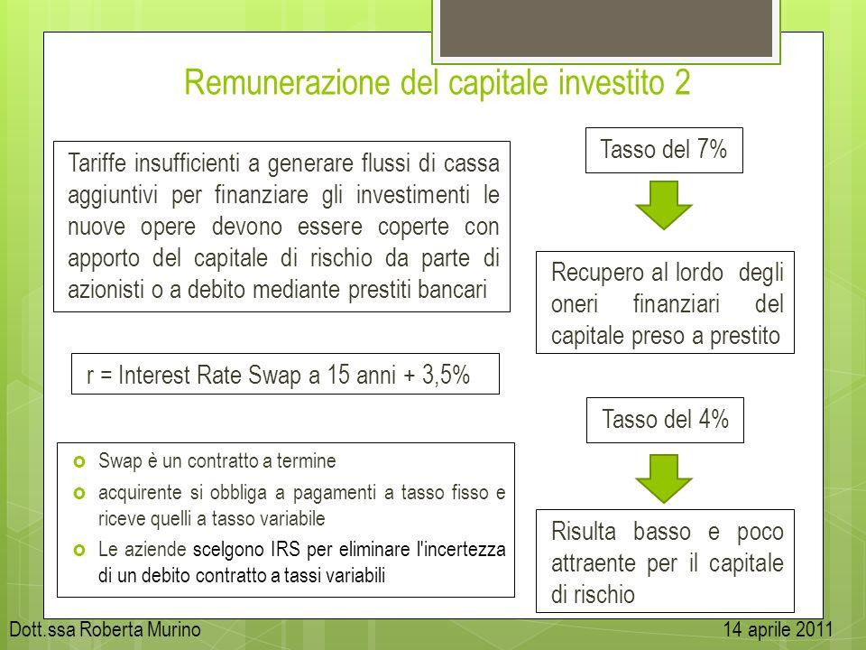 Remunerazione del capitale investito 2 Tariffe insufficienti a generare flussi di cassa aggiuntivi per finanziare gli investimenti le nuove opere devo
