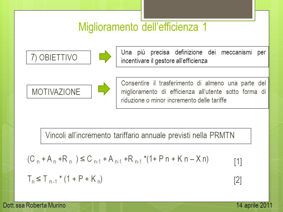 Miglioramento dellefficienza 1 Vincoli allincremento tariffario annuale previsti nella PRMTN 7) OBIETTIVO Una più precisa definizione dei meccanismi p