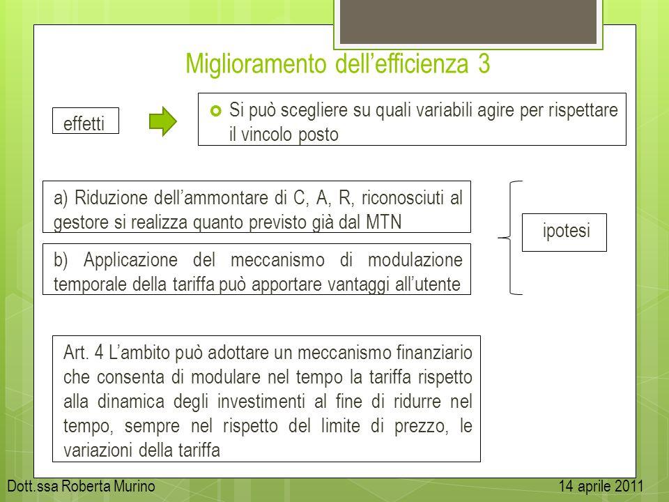 Miglioramento dellefficienza 3 effetti Si può scegliere su quali variabili agire per rispettare il vincolo posto a) Riduzione dellammontare di C, A, R