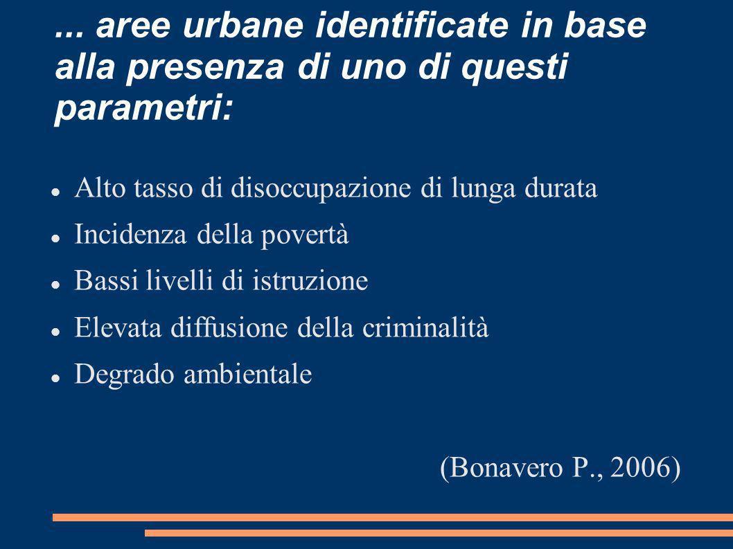 ... aree urbane identificate in base alla presenza di uno di questi parametri: Alto tasso di disoccupazione di lunga durata Incidenza della povertà Ba