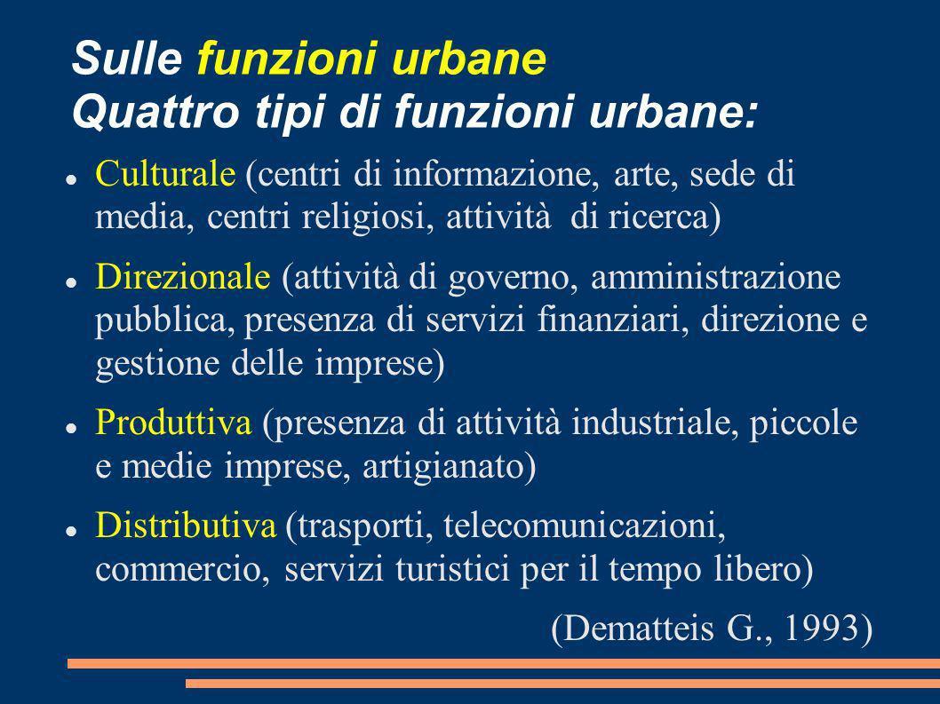 Sulle funzioni urbane Quattro tipi di funzioni urbane: Culturale (centri di informazione, arte, sede di media, centri religiosi, attività di ricerca)