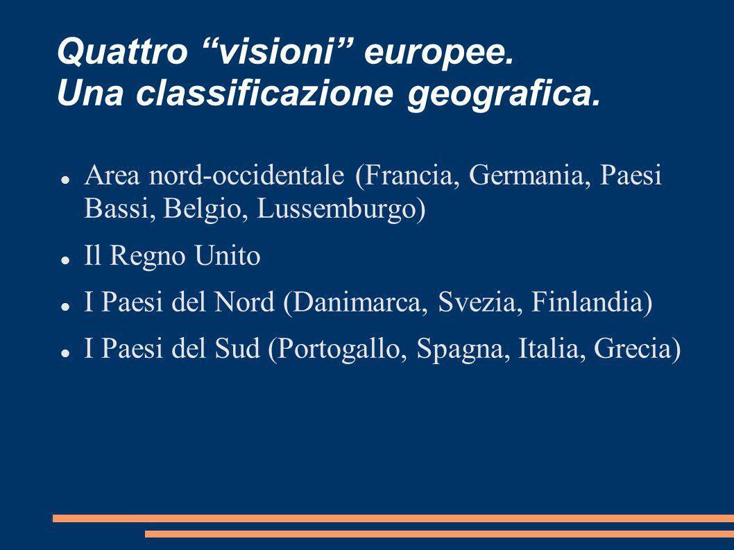 Quattro visioni europee. Una classificazione geografica. Area nord-occidentale (Francia, Germania, Paesi Bassi, Belgio, Lussemburgo) Il Regno Unito I