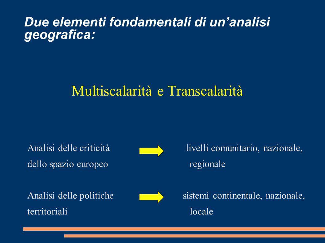 Due elementi fondamentali di unanalisi geografica: Multiscalarità e Transcalarità Analisi delle criticità livelli comunitario, nazionale, dello spazio