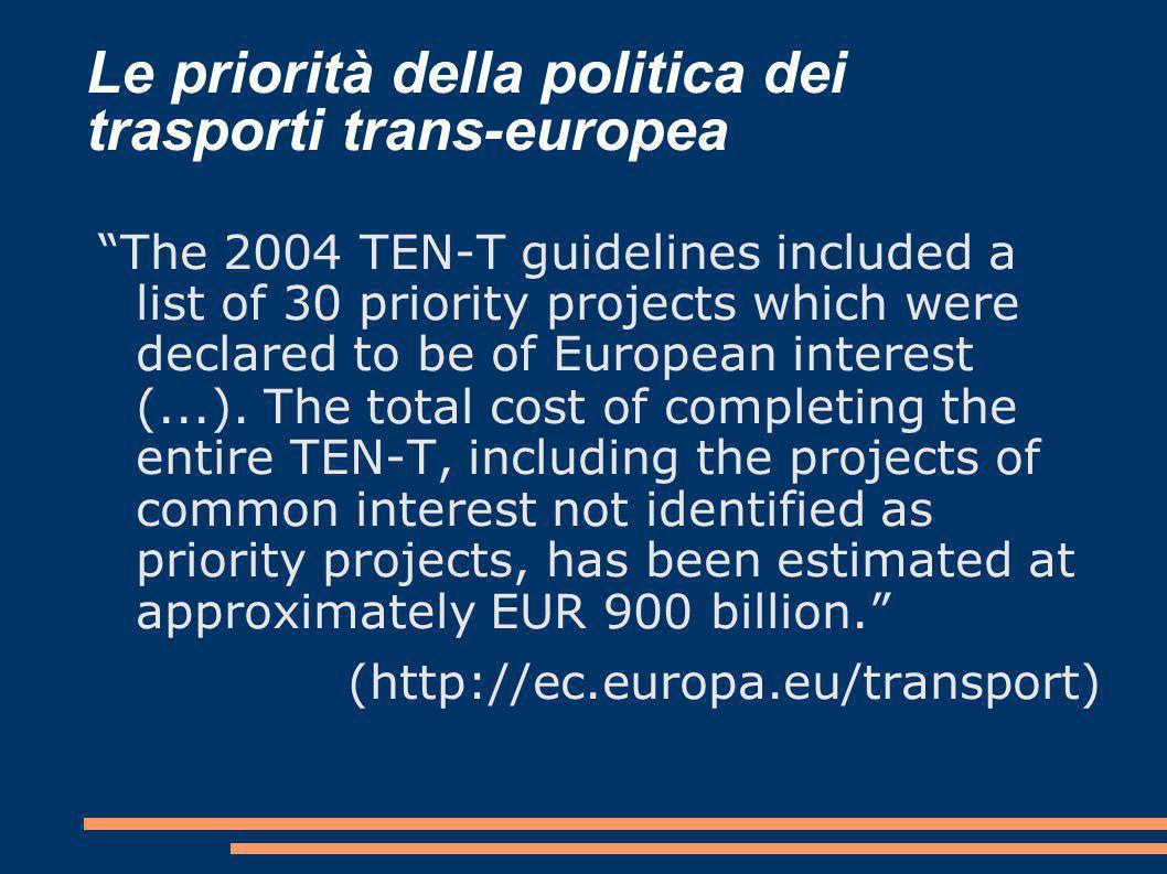 Le priorità della politica dei trasporti trans-europea The 2004 TEN-T guidelines included a list of 30 priority projects which were declared to be of