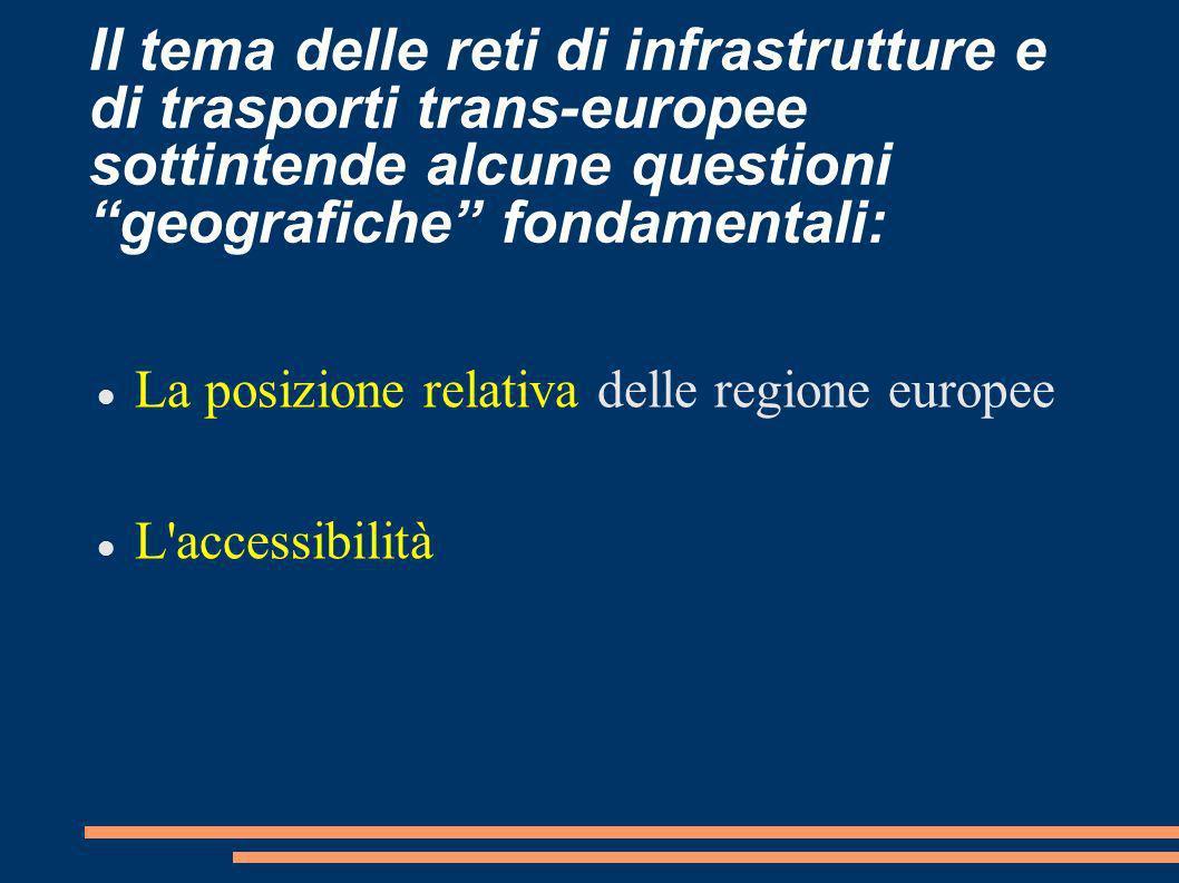 Il tema delle reti di infrastrutture e di trasporti trans-europee sottintende alcune questioni geografiche fondamentali: La posizione relativa delle r