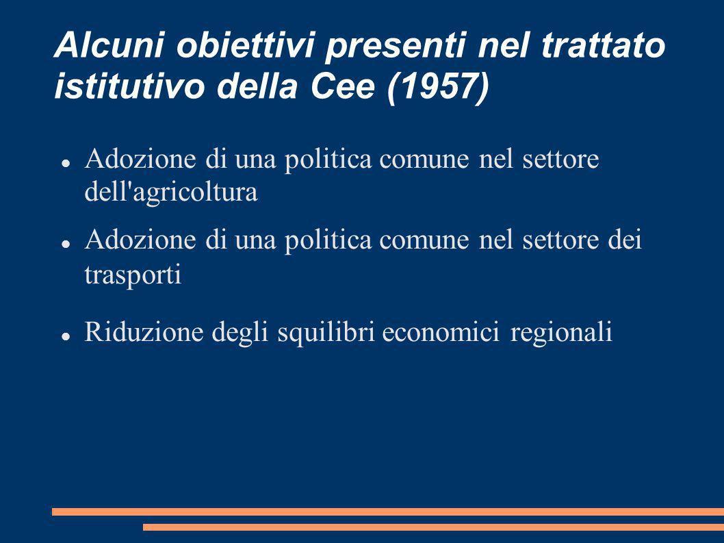 Alcuni obiettivi presenti nel trattato istitutivo della Cee (1957) Adozione di una politica comune nel settore dell'agricoltura Adozione di una politi