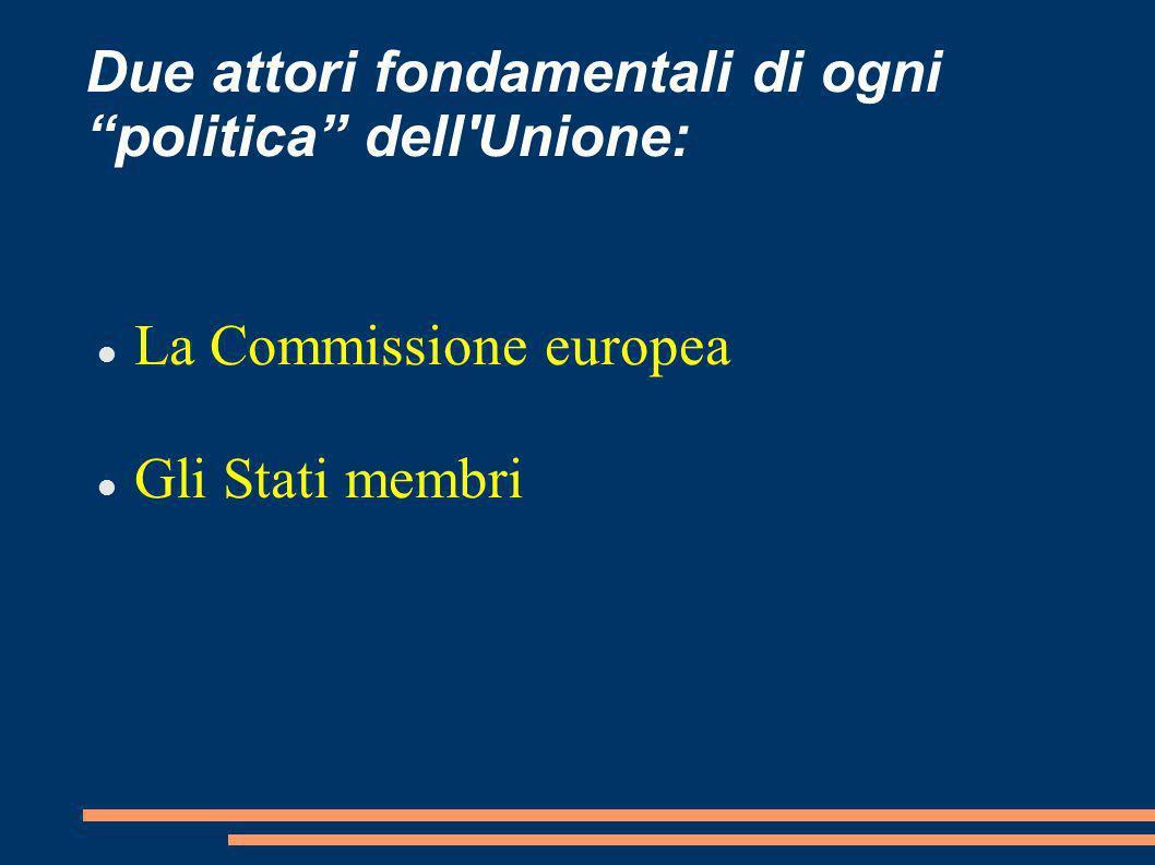 Due attori fondamentali di ogni politica dell'Unione: La Commissione europea Gli Stati membri
