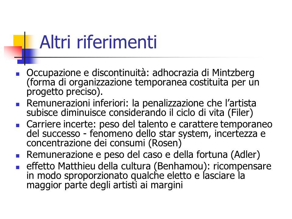 Altri riferimenti Occupazione e discontinuità: adhocrazia di Mintzberg (forma di organizzazione temporanea costituita per un progetto preciso).