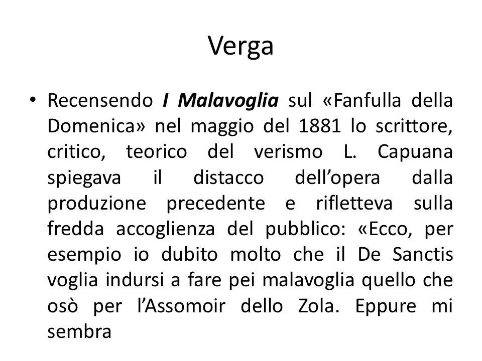 Verga Recensendo I Malavoglia sul «Fanfulla della Domenica» nel maggio del 1881 lo scrittore, critico, teorico del verismo L. Capuana spiegava il dist