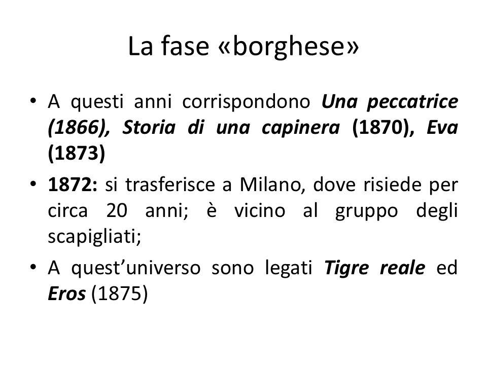La fase «borghese» A questi anni corrispondono Una peccatrice (1866), Storia di una capinera (1870), Eva (1873) 1872: si trasferisce a Milano, dove ri
