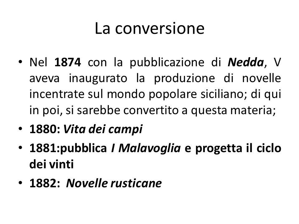 La conversione Nel 1874 con la pubblicazione di Nedda, V aveva inaugurato la produzione di novelle incentrate sul mondo popolare siciliano; di qui in