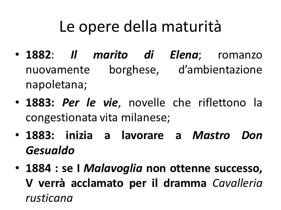 Le opere della maturità 1882: Il marito di Elena; romanzo nuovamente borghese, dambientazione napoletana; 1883: Per le vie, novelle che riflettono la